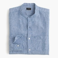Band-collar shirt in délavé Irish linen