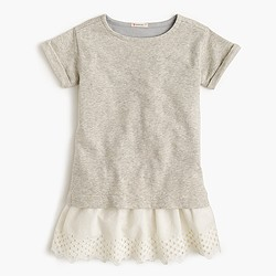 Girls' combo eyelet dress