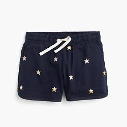 Girls' pull-on short in sparkle stars