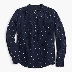 Tall silk popover shirt in polka dot