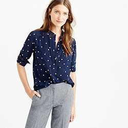 Tall silk popover shirt in polka dot