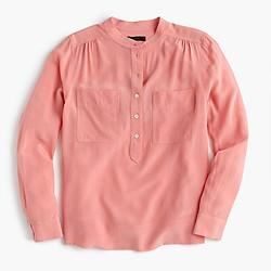 Tall silk popover shirt