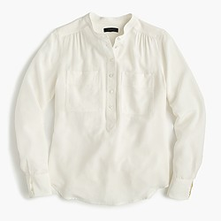 Tall silk popover shirt in ivory
