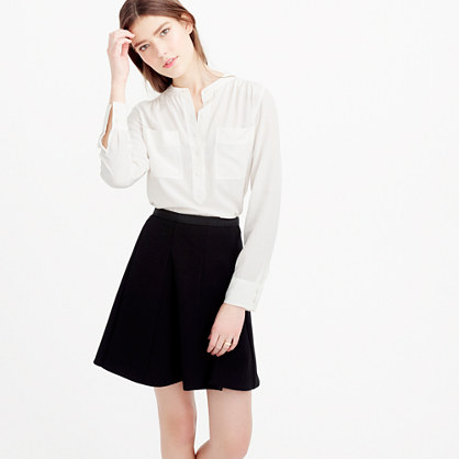Petite silk popover shirt in ivory