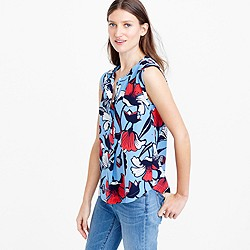 Sleeveless silk popover shirt in Deco floral