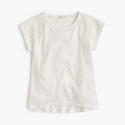Girls' T-shirt with eyelet sleeves
