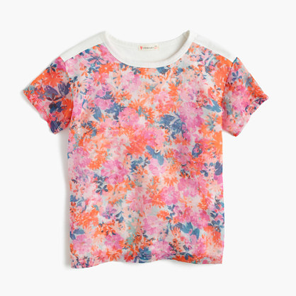 Girls' combo T-shirt in brushstroke marigold