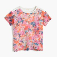 Girls' combo T-shirt in brushstroke marigold