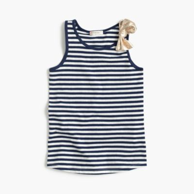 Girls' shimmer-striped bow tank top