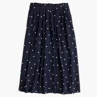 Pleated midi skirt in polka dot
