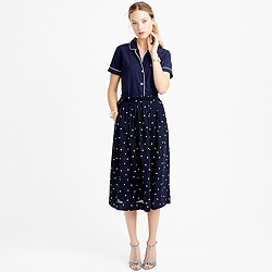 Petite pleated midi skirt in polka dot