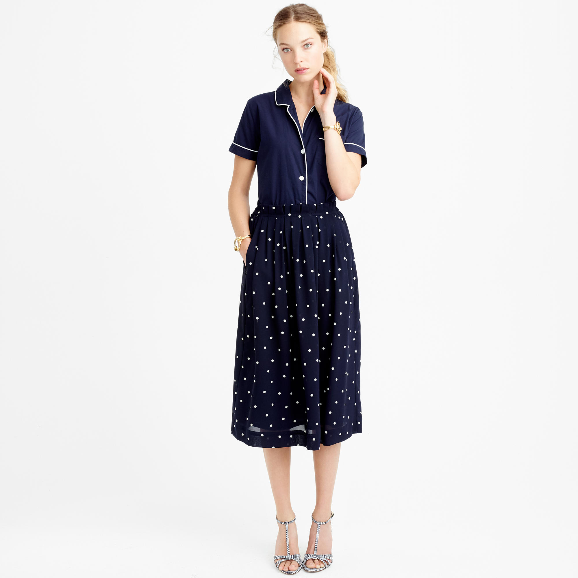 Pleated midi skirt in polka dot : | J.Crew