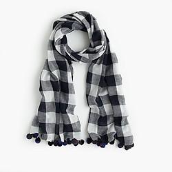 Buffalo plaid pom-pom scarf