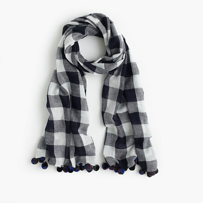 buffalo plaid pom pom scarf scarves j crew. Black Bedroom Furniture Sets. Home Design Ideas