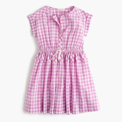 Girls' crinkle gingham dress