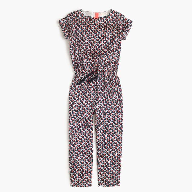 Girls' drapey jumpsuit in elephant safari