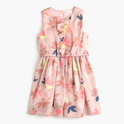 Girls' ruffle-front dress in colorful leaf print