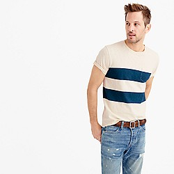 Textured pocket T-shirt in printed stripe