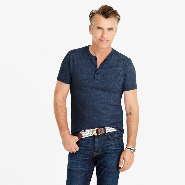 Slim short-sleeve flagstone henley