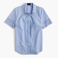 Thomas Mason® for J.Crew embroidered oxford shirt in french blue