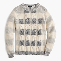 Cotton cable sweater in marled stripe
