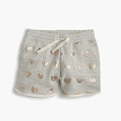 Girls' pull-on knit short in sparkle hearts