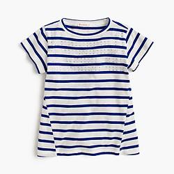 Girls' paneled stripe T-shirt with stones