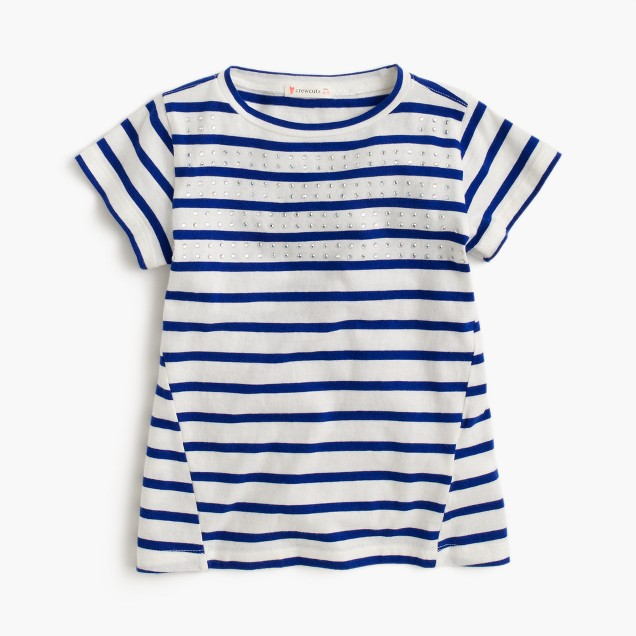 Girls' paneled stripe T-shirt with stones