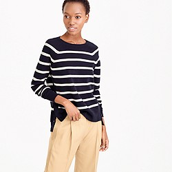 Striped crewneck sweater with side snaps