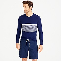 Long-sleeve rash guard with chest stripe