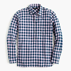 Gingham popover shirt in blue and lilac