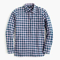 Petite gingham popover shirt in blue and lilac