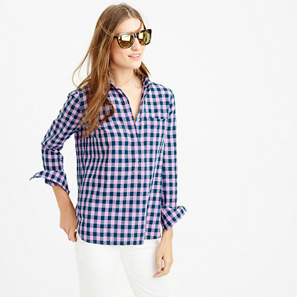 Tall gingham popover shirt in blue and lilac