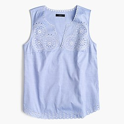 Petite embroidered circles sleeveless top in french blue