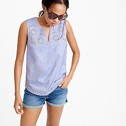 Tall embroidered circles sleeveless top in french blue