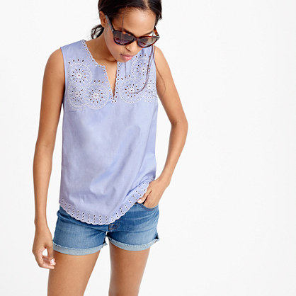 Embroidered circles sleeveless top in french blue