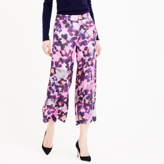 Collection wide-leg silk pant in watercolor floral