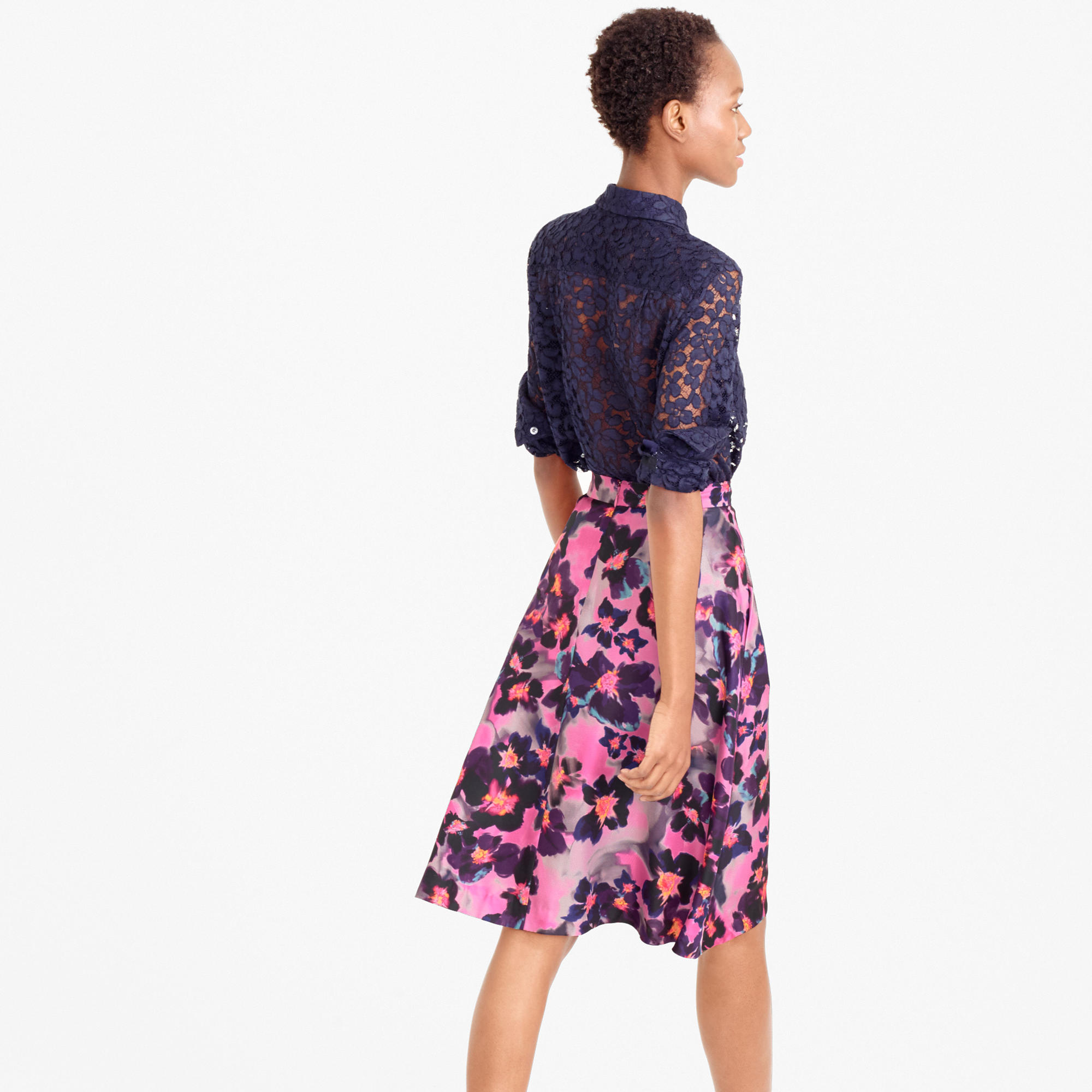 Collection A-line silk twill skirt in watercolor floral : | J.Crew