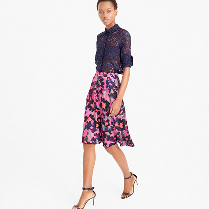 Collection A-line silk twill skirt in watercolor floral