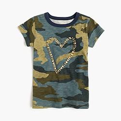 Girls' embellished heart camo T-shirt