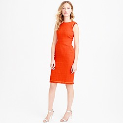 Petite sheath dress in textured tweed