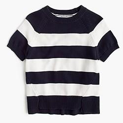 Short-sleeve crewneck sweater in stripe