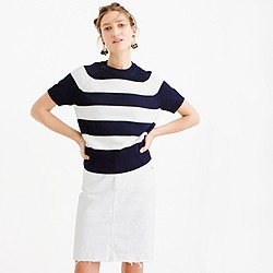 Short-sleeve crewneck sweater in stripe