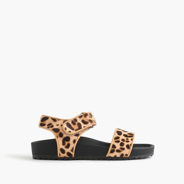 Girls' leopard slide sandals