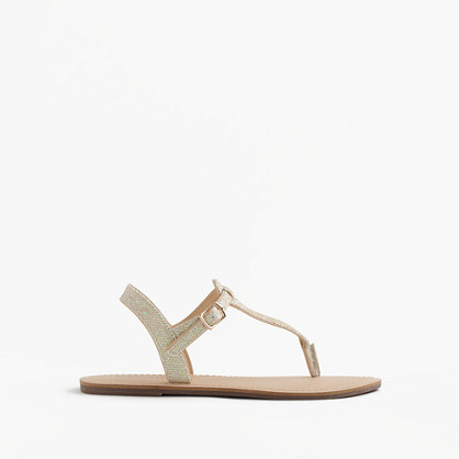 Girls' iridescent T-strap sandals