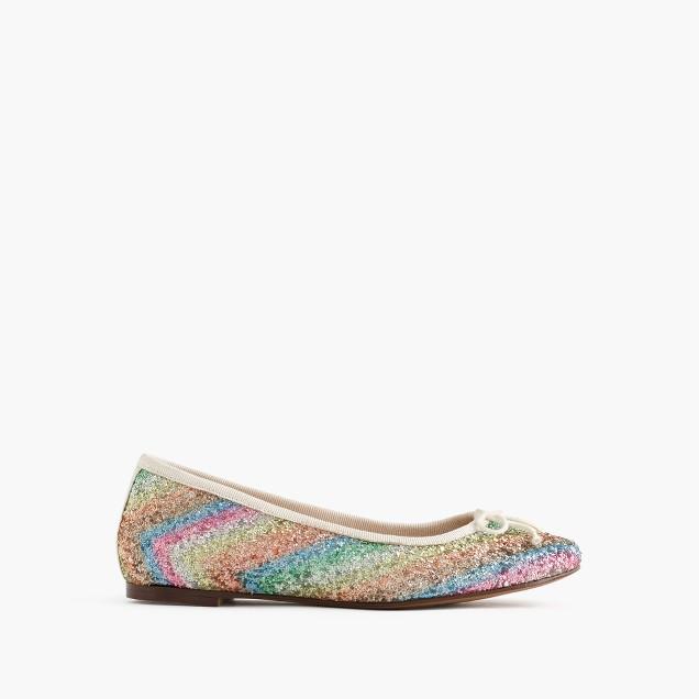 Girls' rainbow glitter ballet flats