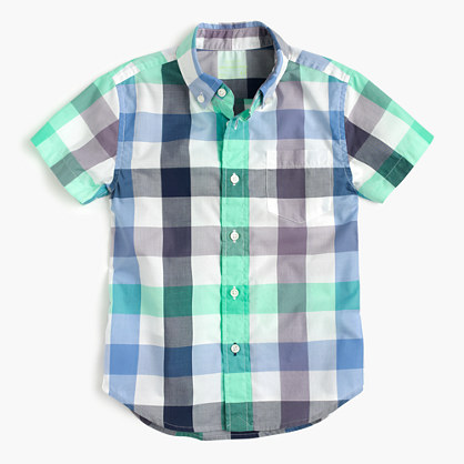 Kids' short-sleeve Secret Wash shirt in blade green gingham