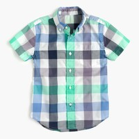 Kids' short-sleeve Secret Wash shirt in exploded gingham