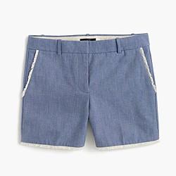 Frayed chambray short