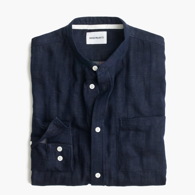 Norse Projects™ Benno double-faced indigo band-collar shirt